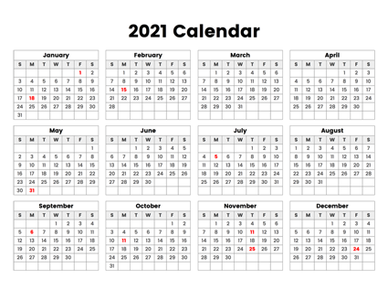 Free 2021 Yearly Calender Template / Free 2021 Calendar ...