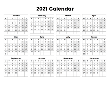 2021 Year Calendar With The Week Starting On Monday