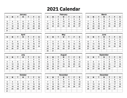 2021 Printable Calendar One Page 2021 Calendar One Page