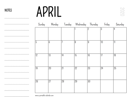 picture relating to April Printable Calendar identified as April 2020 Printable Calendar