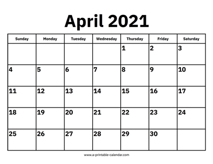 Calendar 2021 April April 2021 Calendar