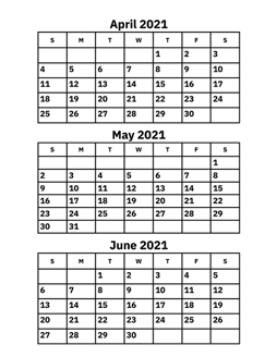 April 2021 Calendar April, May and June 2021 Calendar