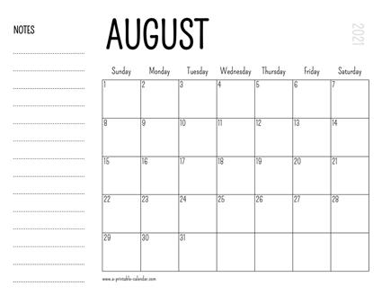 Calendar August 2021 Printable August 2021 Printable Calendar