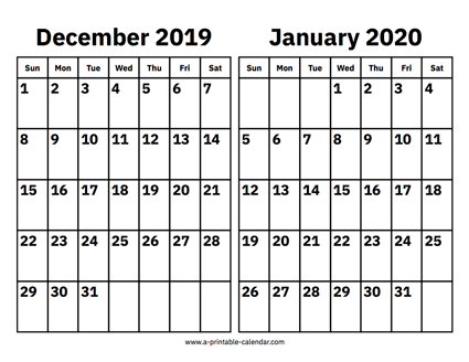 Calendar Dec 2019 Jan 2021 December 2019 and January 2020 Calendar