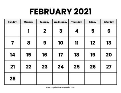 2021 Calendar Printable February 2021 Calendar Printable