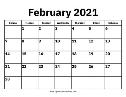 Calendar Of Feb 2021 February 2021 Calendars – Printable Calendar 2021