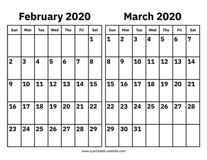 picture about February Printable Calendar titled February And March 2020 Calendar Printable Calendar 2020