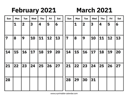 Calendar February And March 2021 February and March 2021 Calendar