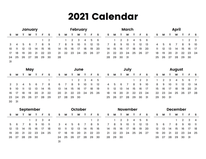2021 Full Year Calendar Printable