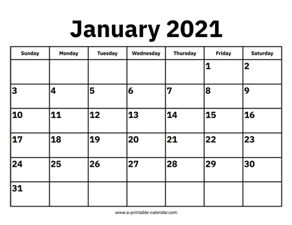 Calendar Of Jan 2021 January 2021 Calendar
