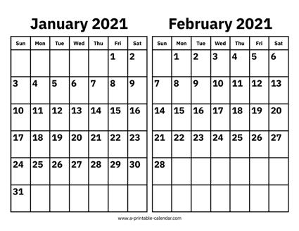 January And February Calendar 2021 Wallpaper