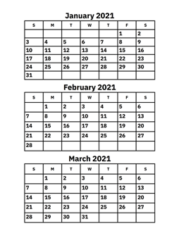 January, February and March 2021 Calendar