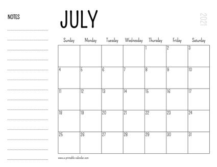 Photos of Calendar 2021 Printable July