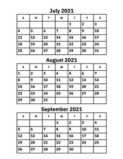 September 2021 Calendar July, August and September 2021 Calendar