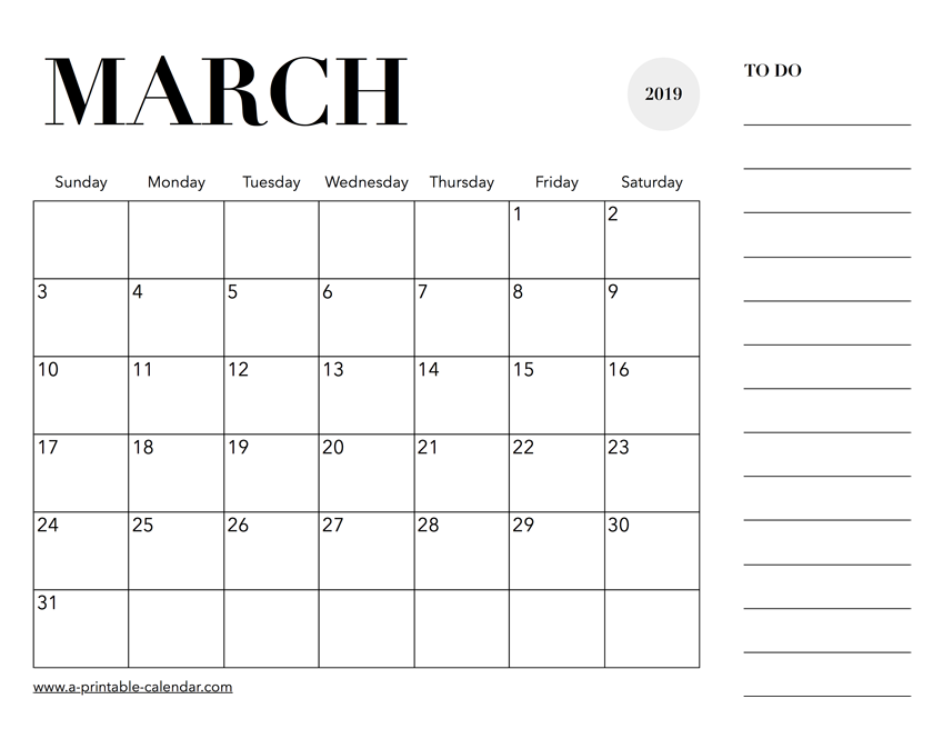 image about Calendar March Printable named 2019 March Calendar Printable