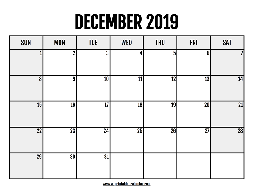 picture relating to Printable Calendar Dec named 2019 December Calendar Printable