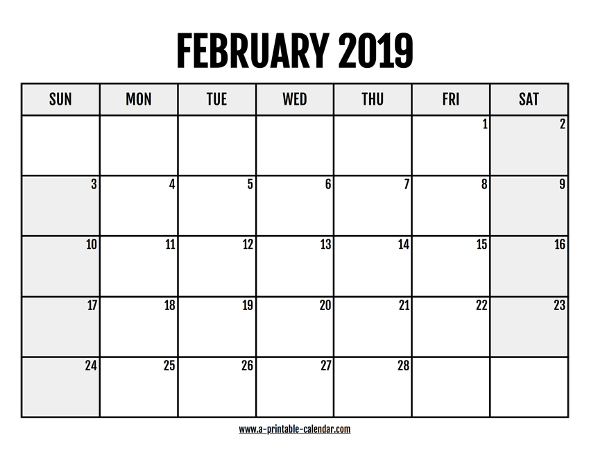photograph relating to February Calendar Printable identify 2019 February Calendar Printable