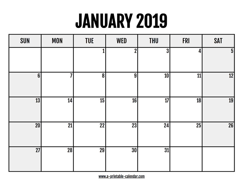 photo relating to January Calendar Printable named 2019 January Calendar Printable