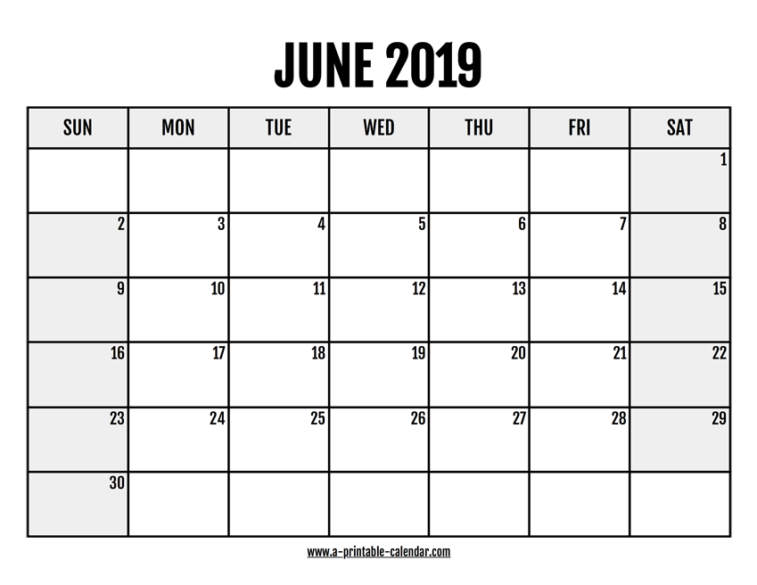 photo about June Printable Calendar named 2019 June Calendar Printable