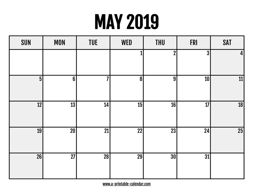 image about Printable May Calendars titled 2019 May perhaps Calendar Printable