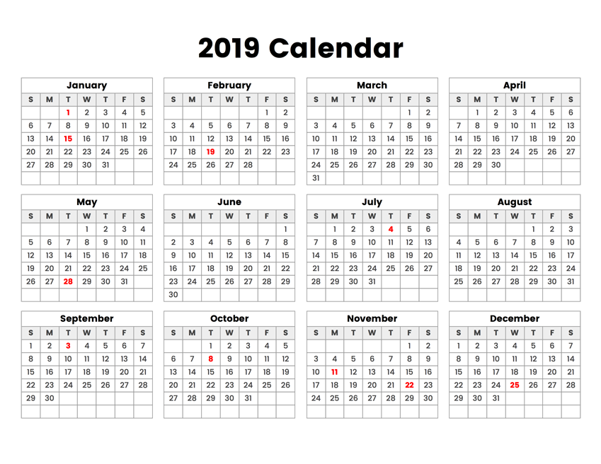 photo about Calendar With Holidays Printable identified as 2019 Yr Calendar With Vacations