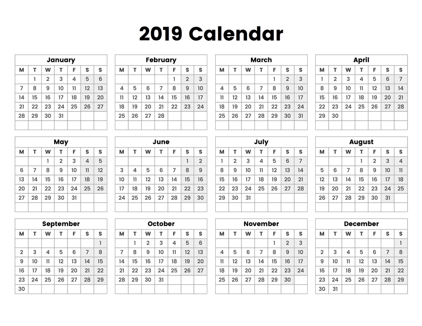 2019 year calendar with the week starting on monday