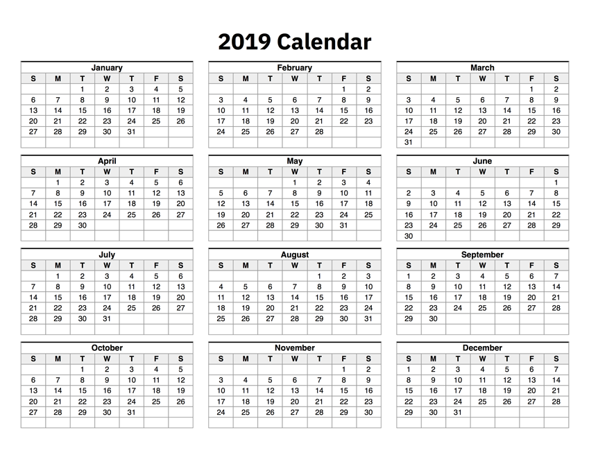 picture regarding Printable Calendar on One Page referred to as 2019 Calendar A single Web site