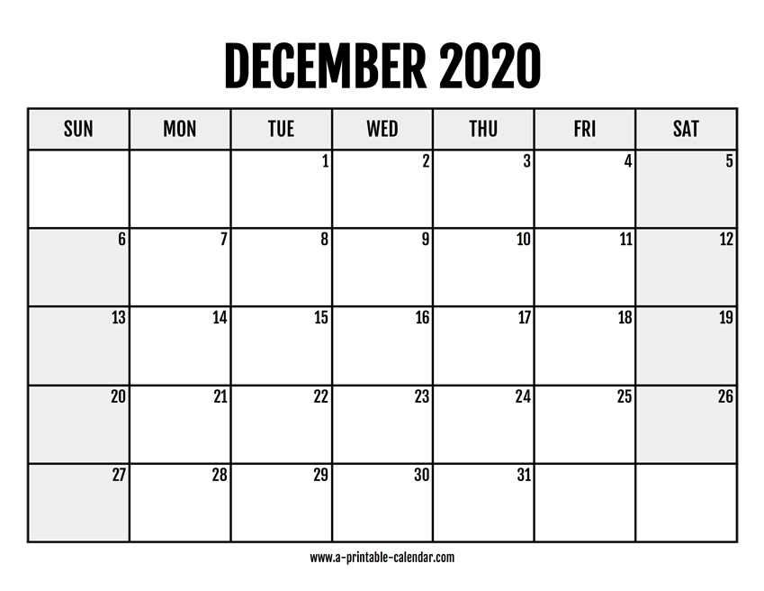 photo regarding Printable December Calendar named 2020 December Calendar Printable