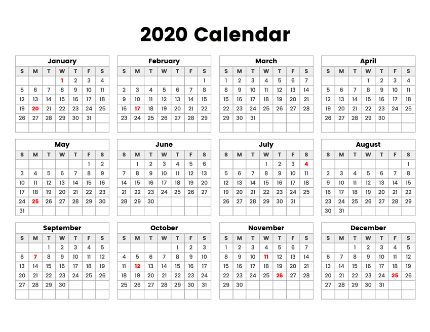 photo relating to 3 Year Calendar Printable referred to as Printable Calendar 2020 - Easy Insightful Printable Calendars