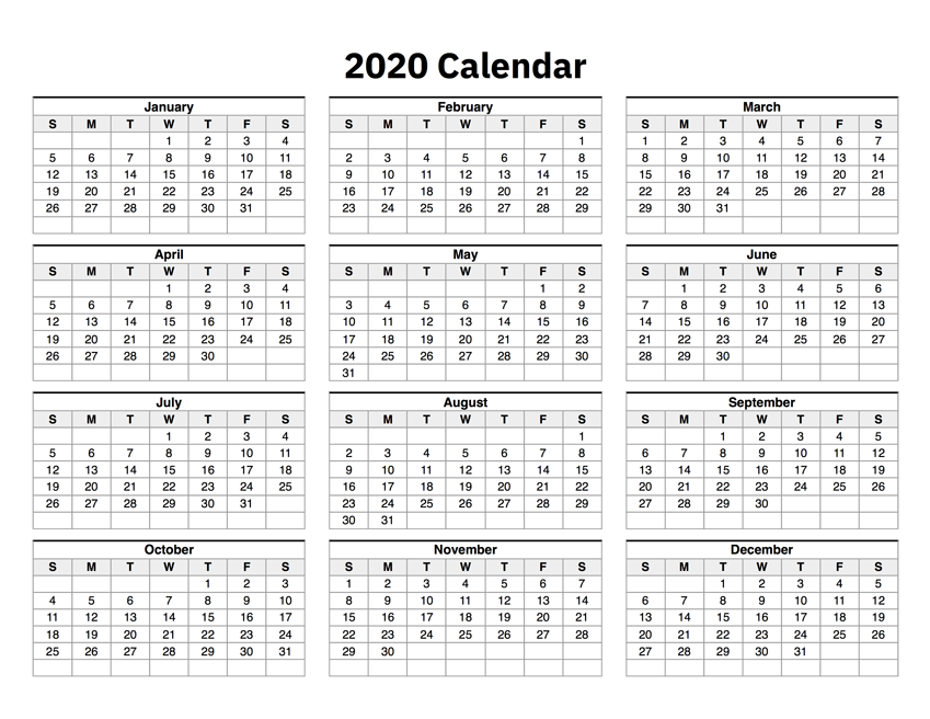 photo regarding Printable Calendar on One Page identify 2020 Calendar Just one Webpage
