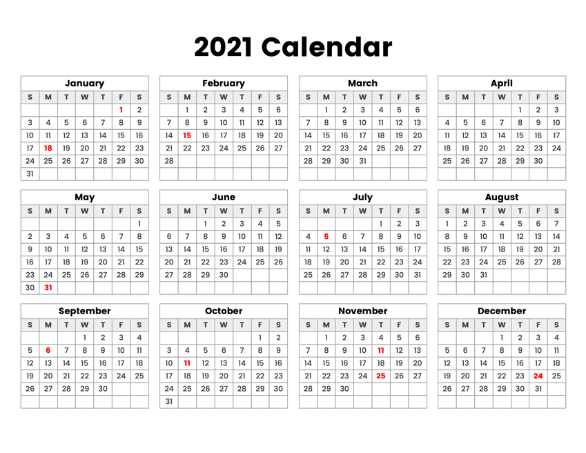 2021 Year Calendar With Holidays