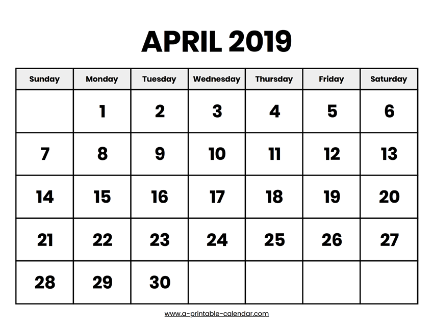 picture regarding Printable Calendar April called April 2019 Calendar Printable
