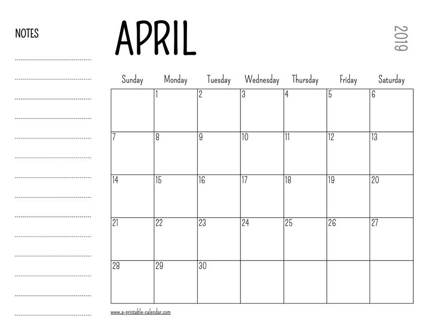 photo regarding Printable April titled April 2019 Printable Calendar