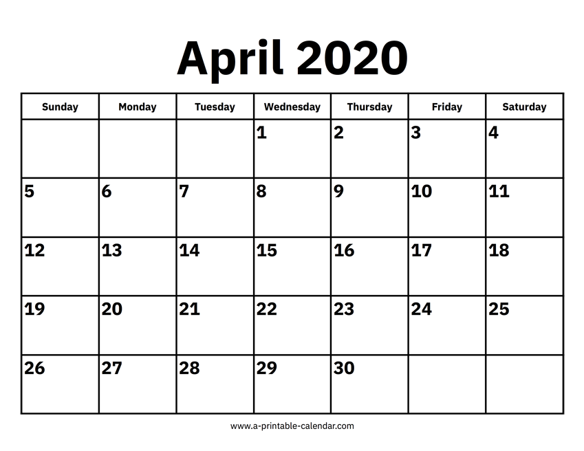 calendar of april 2020