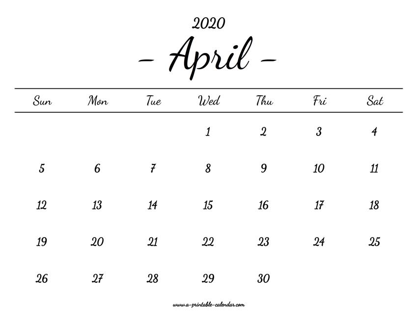 April 2020 Calendar Printable.April Calendar 2020 Printable