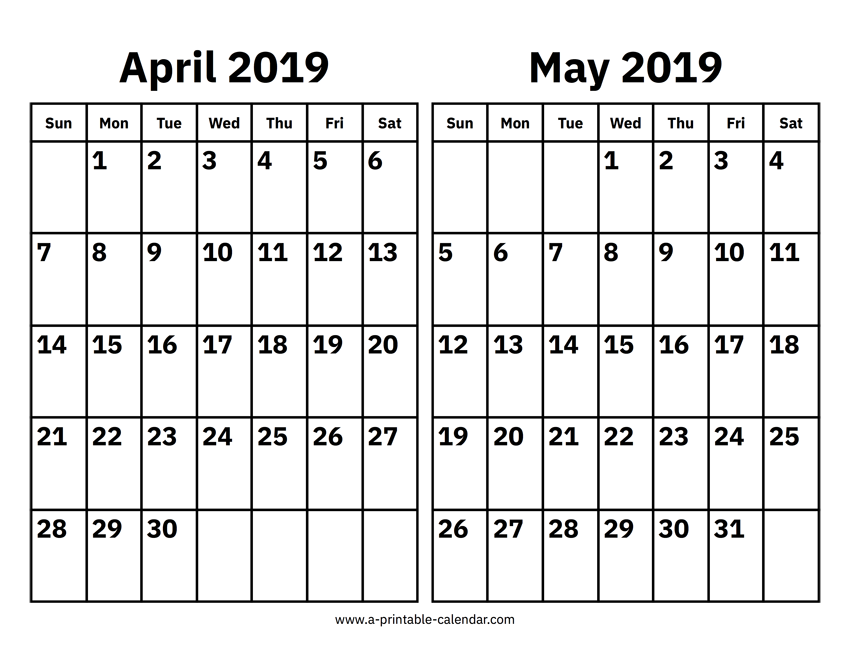 photograph regarding Printable Calendar April identified as April And May perhaps 2019 Calendar Printable Calendar 2019
