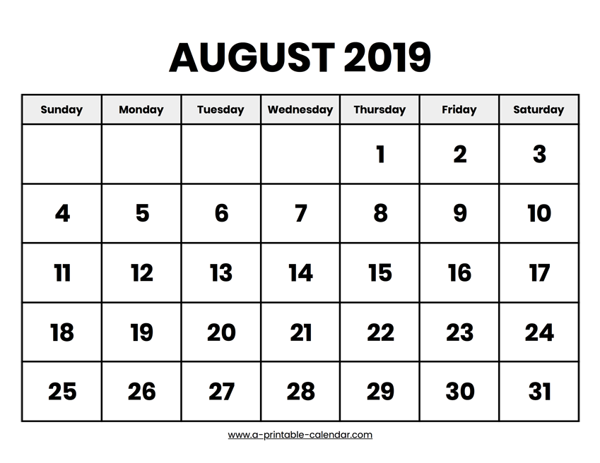 photo about Printable August Calendar titled August 2019 Calendar Printable