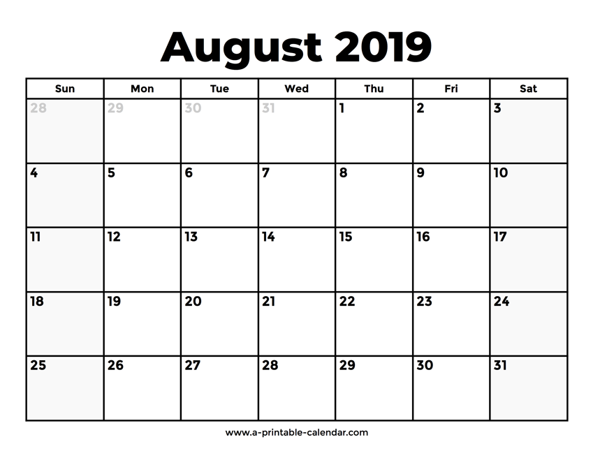 graphic relating to Printable August Calendar titled August 2019 Calendar With Holiday seasons Printable Calendar 2019