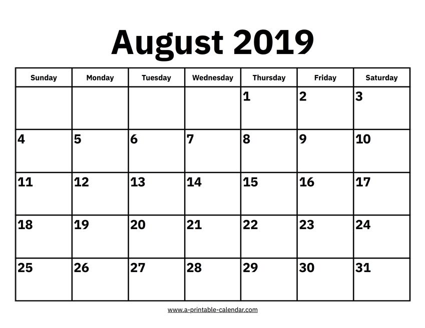 August 2019 Calendar.August 2019 Calendar