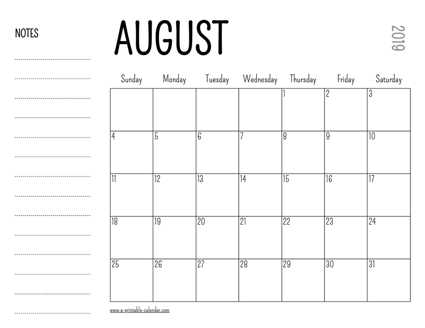 photo regarding Printable August Calendar named August 2019 Printable Calendar
