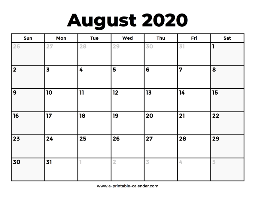 blank calendar for august 2020 printable