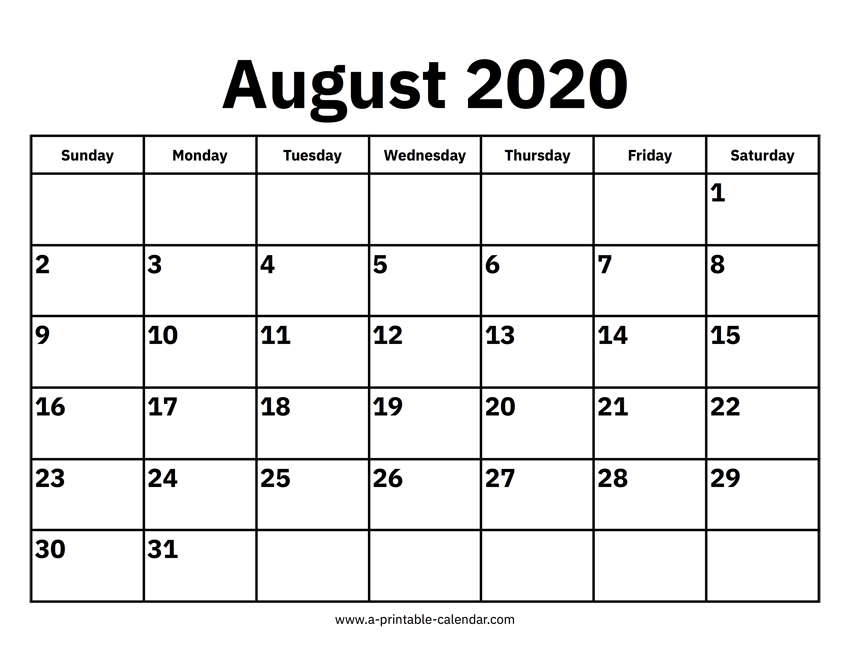 July 2020 Calendar Printable.August 2020 Calendar