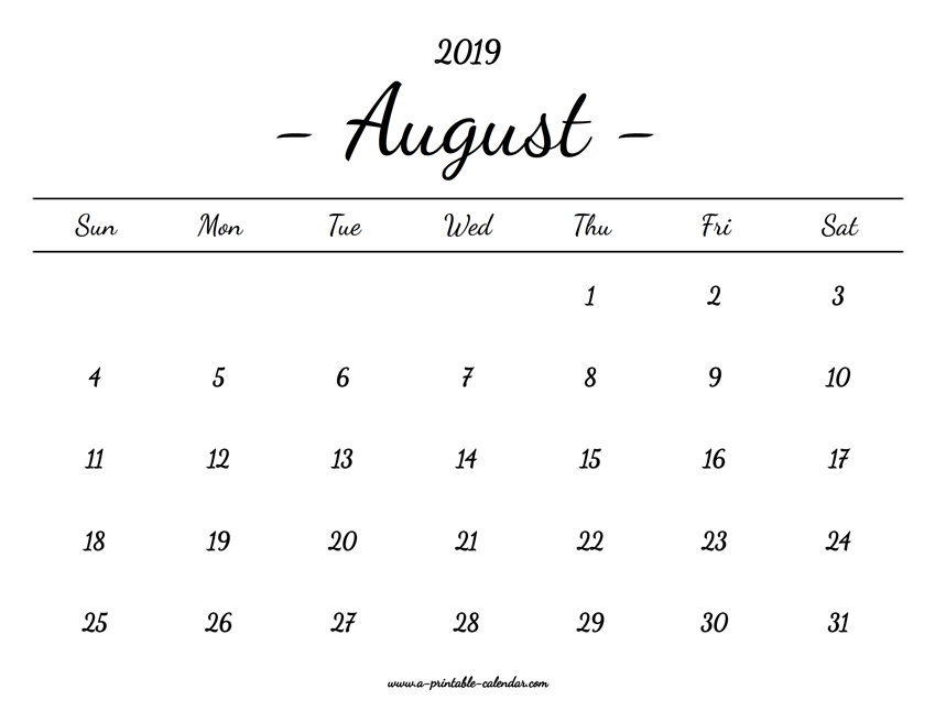 picture relating to Printable Calendar Aug known as August Calendar 2019 Printable