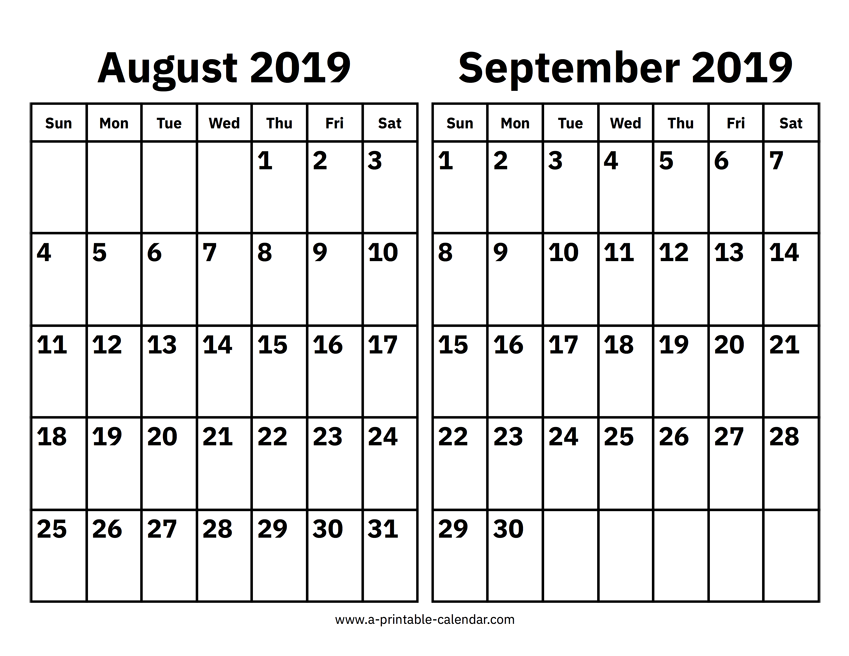 image regarding Printable Calendar Aug named August And September 2019 Calendar Printable Calendar 2019