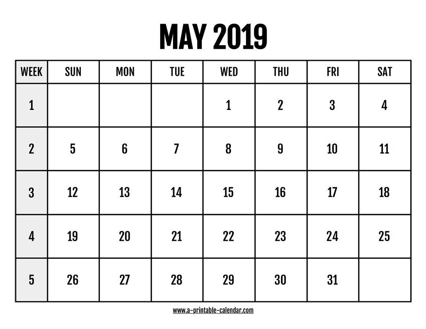 Calendar 2019 May