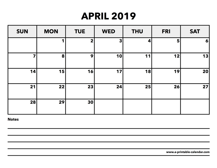picture relating to April Printable identify Calendar April 2019