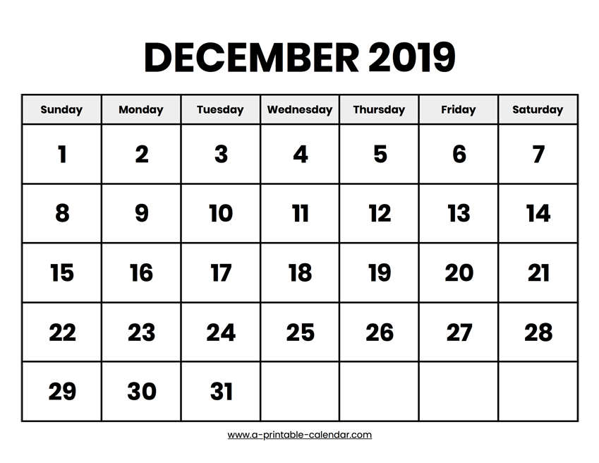 photo about Printable December Calendar called December 2019 Calendar Printable