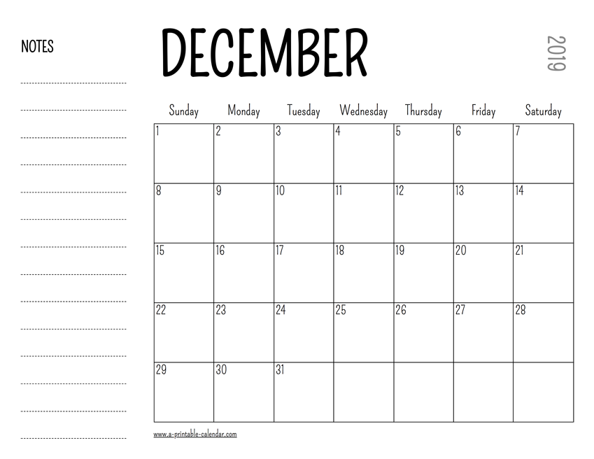 photo regarding Printable Calendars identified as December 2019 Printable Calendar