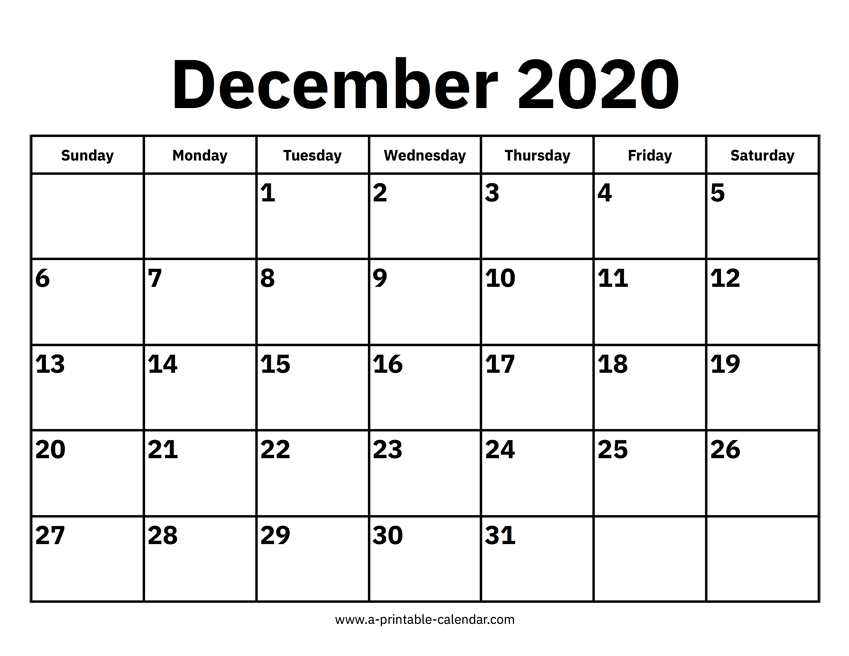 December 2020 Calendars Printable Calendar 2020