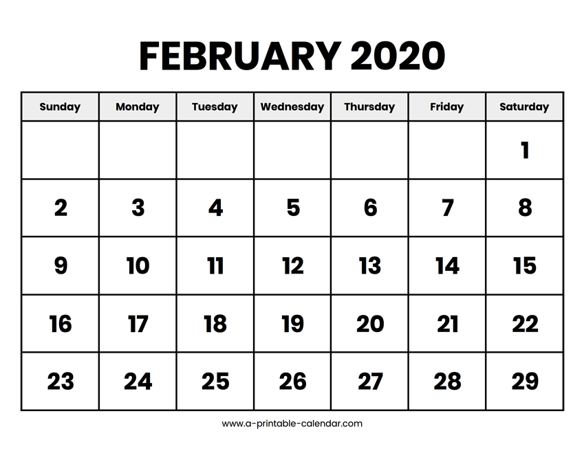 image relating to Printable February Calendar named February 2020 Calendar Printable